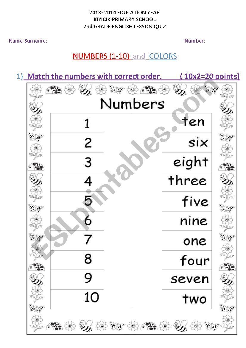 medium resolution of Numbers 1-10 and Colors Quiz Worksheet - ESL worksheet by rodistar