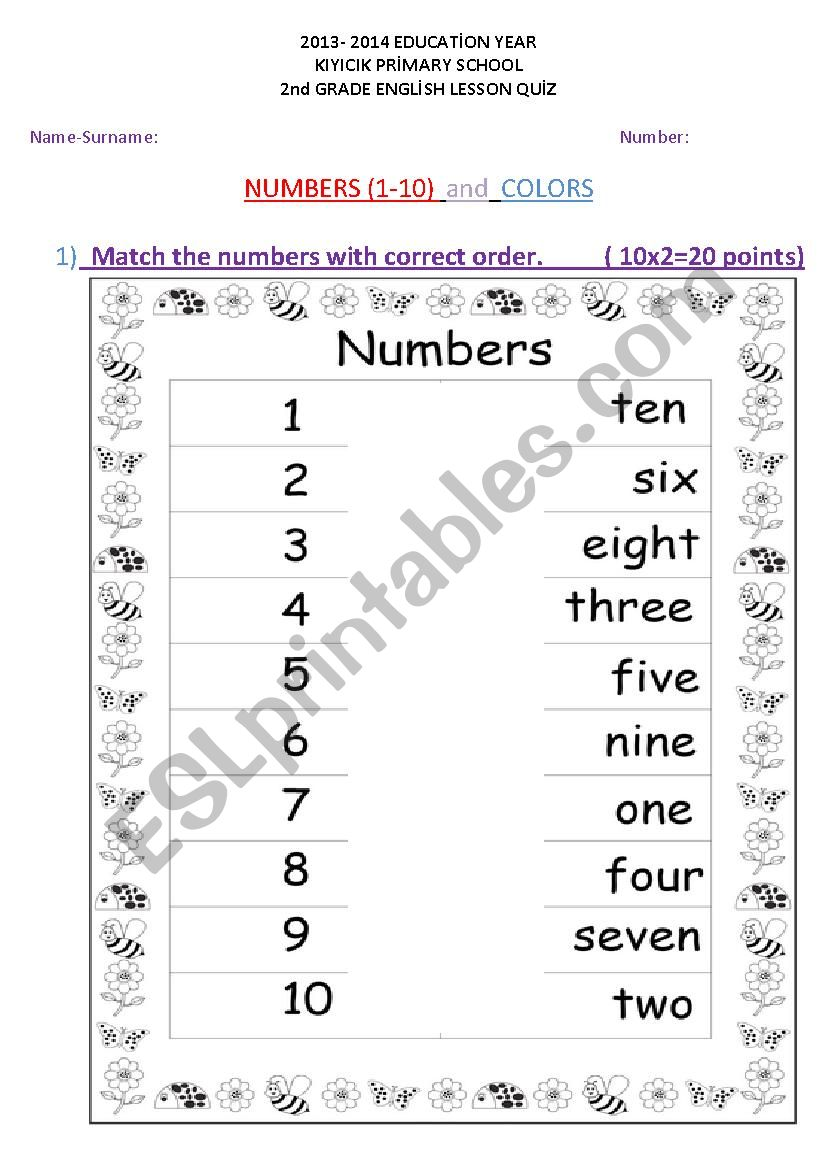 hight resolution of Numbers 1-10 and Colors Quiz Worksheet - ESL worksheet by rodistar