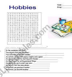 hobbies wordsearch worksheet [ 1169 x 821 Pixel ]