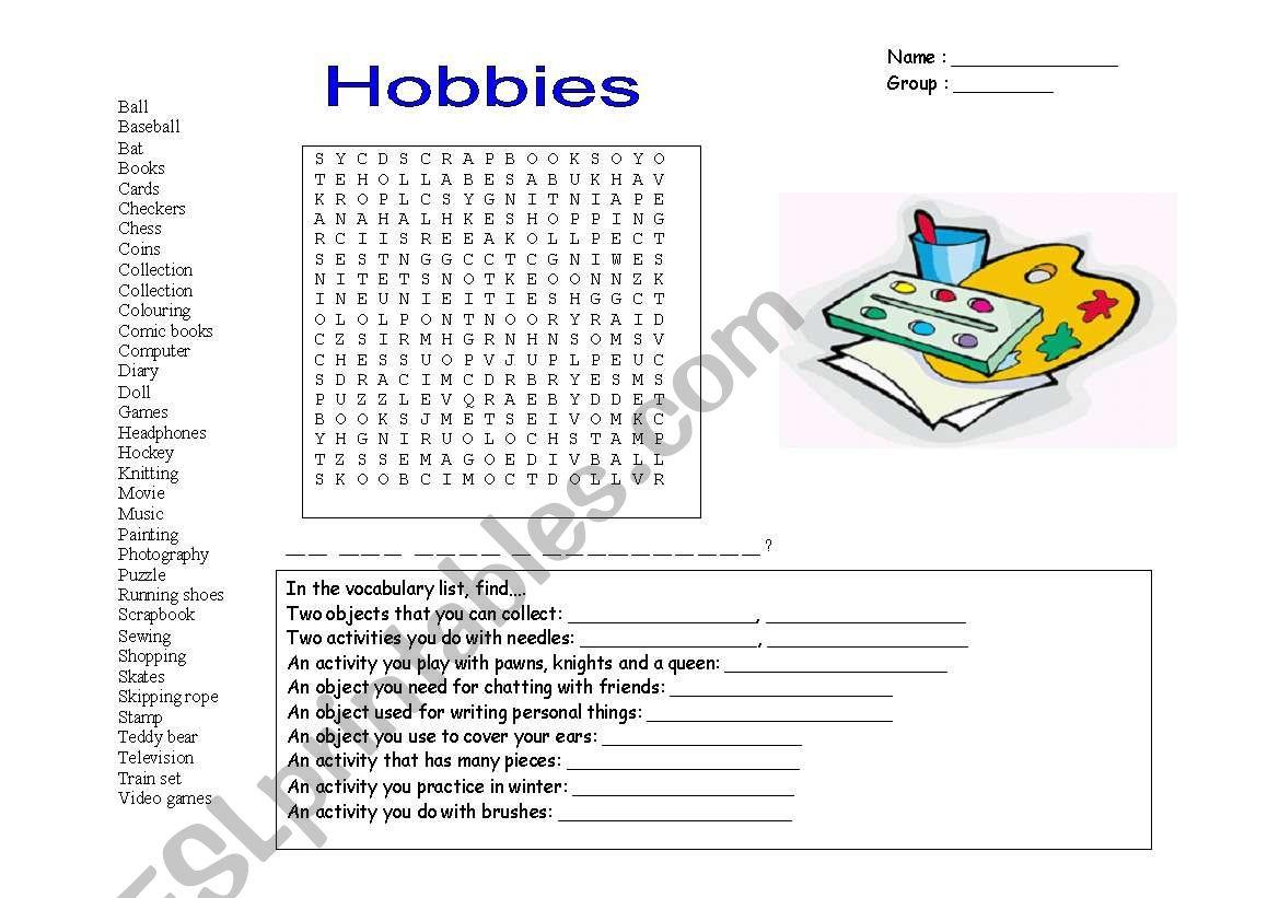 hight resolution of hobbies wordsearch worksheet