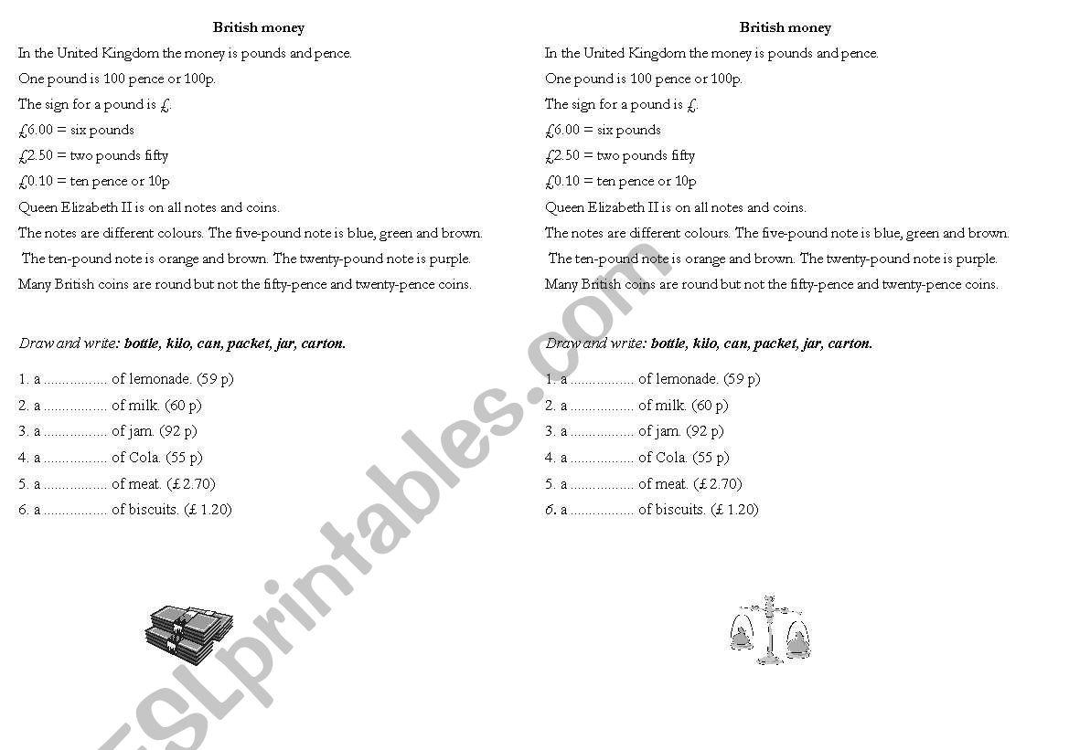 English Worksheets British Money