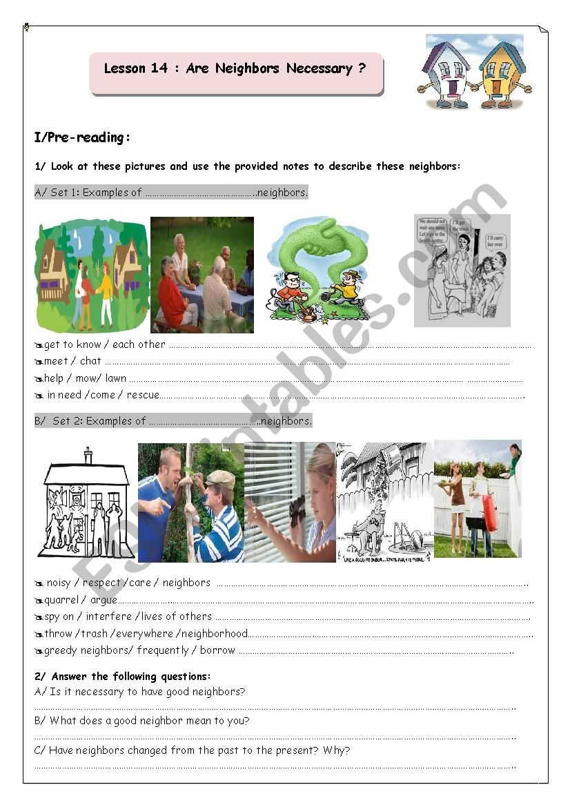 hight resolution of Are Neighbours Necessary? - ESL worksheet by youda