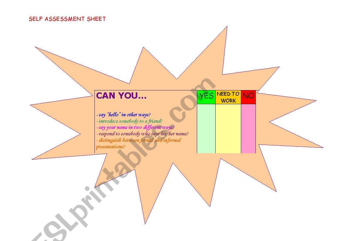 English Worksheets Student S Self Assessment Sheet