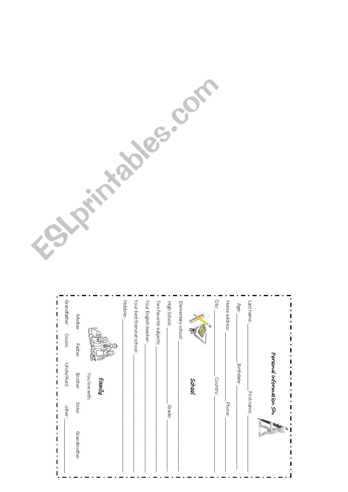 Personal Information Sheet