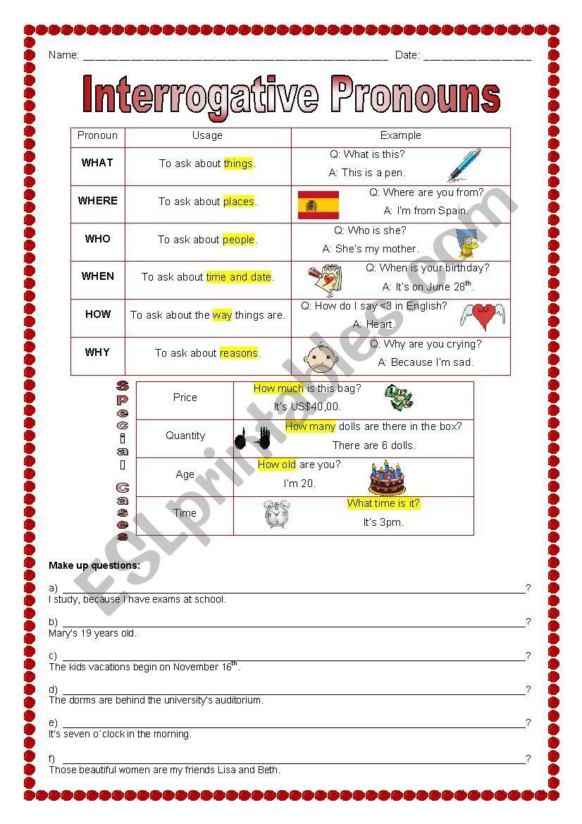 medium resolution of Interrogative Pronouns - ESL worksheet by marcelakemp