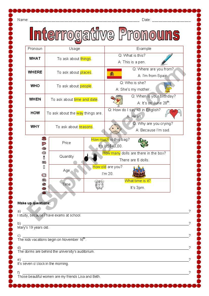 hight resolution of Interrogative Pronouns - ESL worksheet by marcelakemp