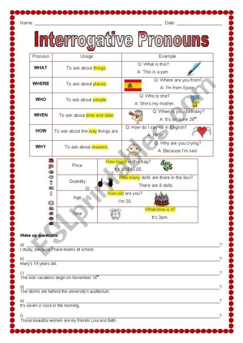 small resolution of Interrogative Pronouns - ESL worksheet by marcelakemp
