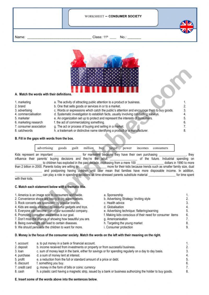 hight resolution of Consumer society - vocabulary - ESL worksheet by sandramaisa