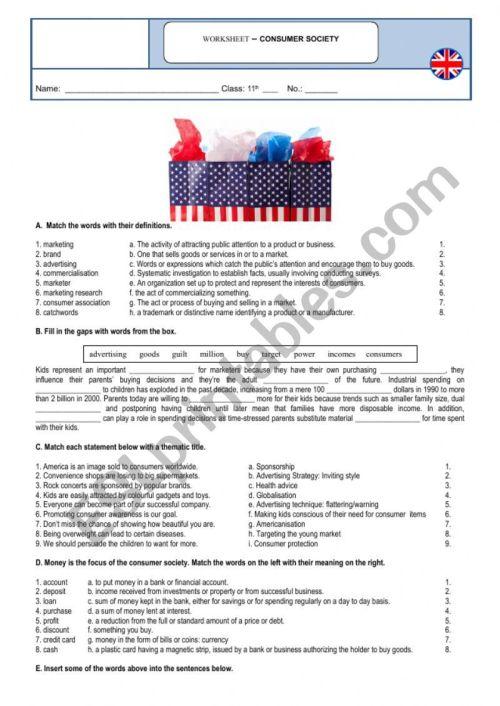 small resolution of Consumer society - vocabulary - ESL worksheet by sandramaisa