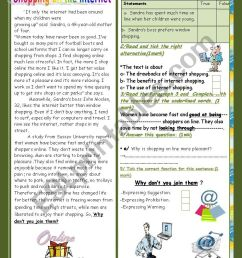 Internet Shopping and other services(End of Term2 Test 9th form)3 parts:  Reading Comprehension+Language+Writing+Key. - ESL worksheet by falafel [ 1169 x 826 Pixel ]