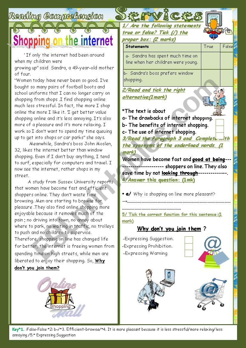 medium resolution of Internet Shopping and other services(End of Term2 Test 9th form)3 parts:  Reading Comprehension+Language+Writing+Key. - ESL worksheet by falafel