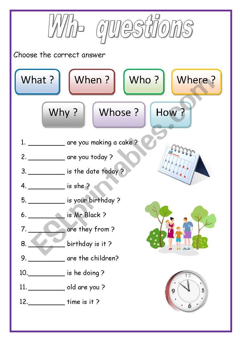 medium resolution of WH - questions (English for beginners) - ESL worksheet by lucak (F)