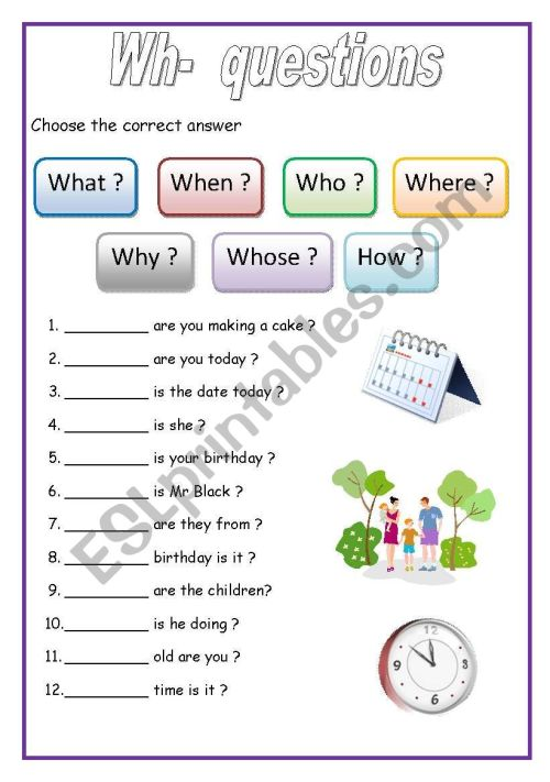 small resolution of WH - questions (English for beginners) - ESL worksheet by lucak (F)