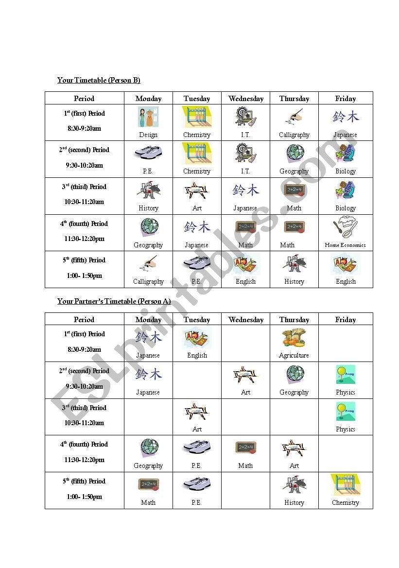 School Subjects Timetable Information Gap B