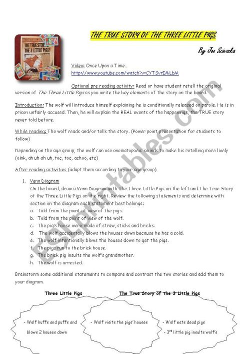 small resolution of the true story of the 3 little pigs worksheet