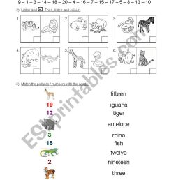 2nd grade Test - numbers 1 to 20 \u0026 animals - ESL worksheet by silvigit [ 1169 x 826 Pixel ]