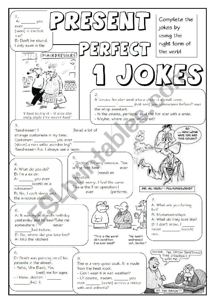 English worksheets: GRAMMAR JOKES (tenses 6/7)