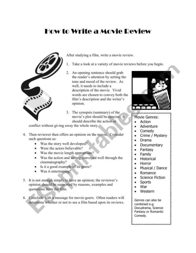 How to Write a Movie Review - ESL worksheet by ShakespeareGroupie