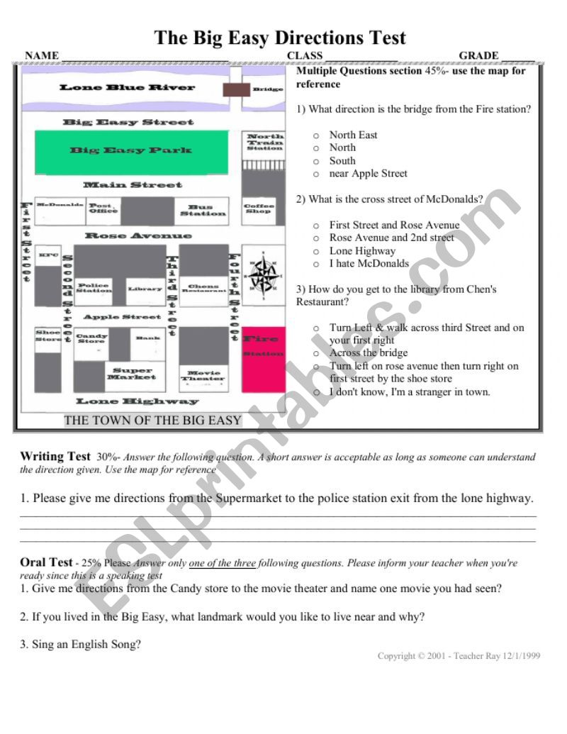 medium resolution of Directions Test with map activity for speaking oral