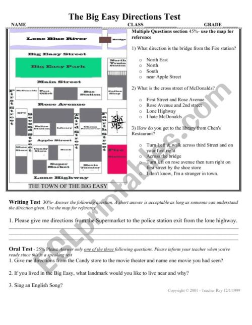 small resolution of Directions Test with map activity for speaking oral