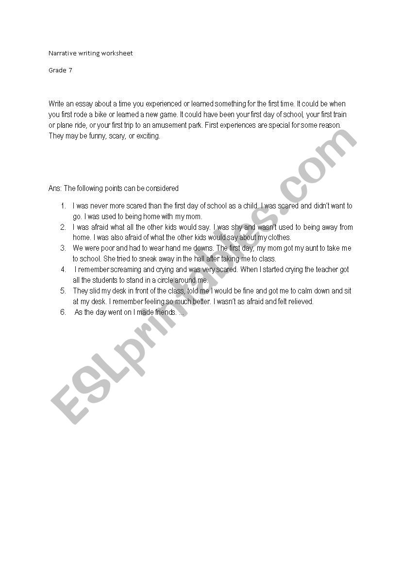 medium resolution of Narrative writing - ESL worksheet by sonal28