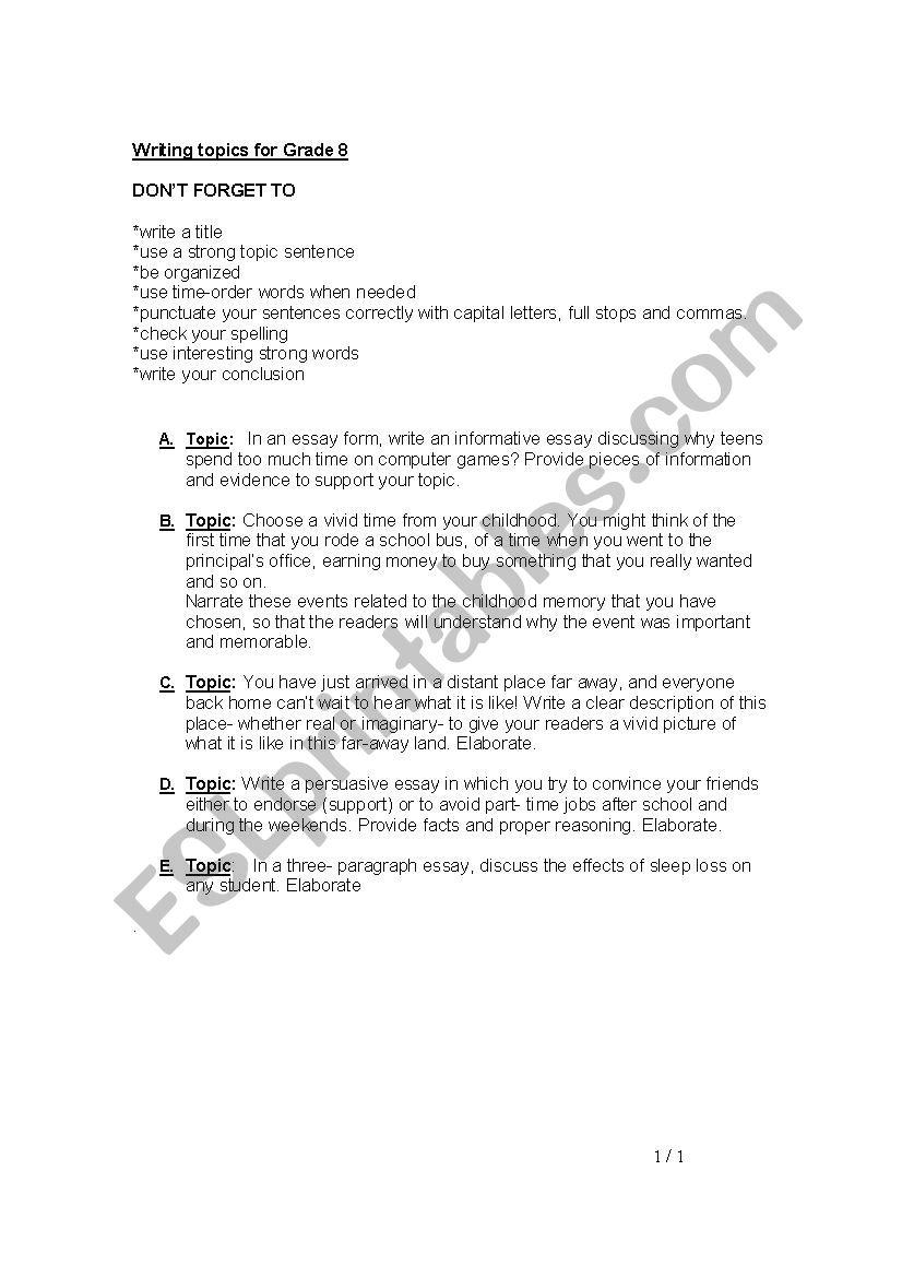 hight resolution of Writing Topics for Grade 8 - ESL worksheet by ReemSancil