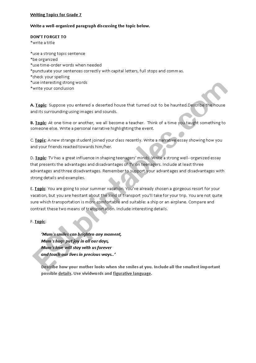 medium resolution of Writing topics for Grade 7 - ESL worksheet by ReemSancil