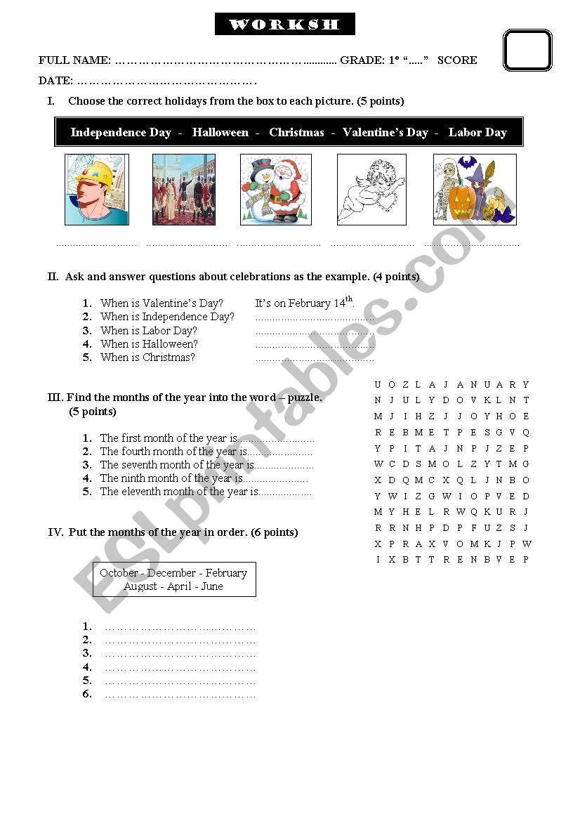 hight resolution of Important days - ESL worksheet by coraly