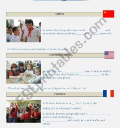 Schools around the World - Subjects and Culture - ESL worksheet by genio [ 1169 x 826 Pixel ]