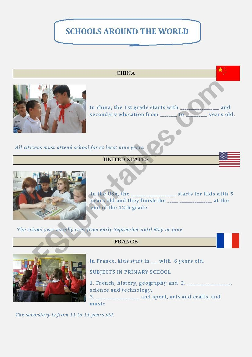 medium resolution of Schools around the World - Subjects and Culture - ESL worksheet by genio