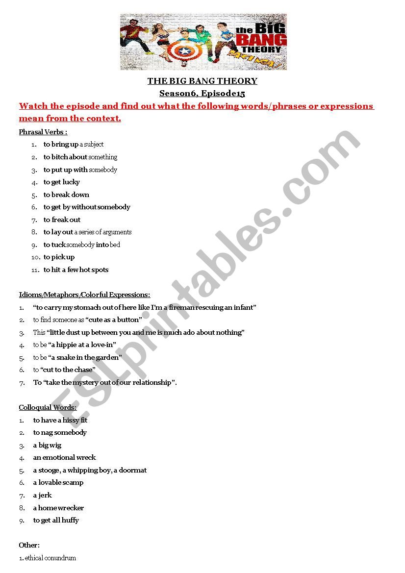 medium resolution of Big Bang Theory Worksheet - Nidecmege