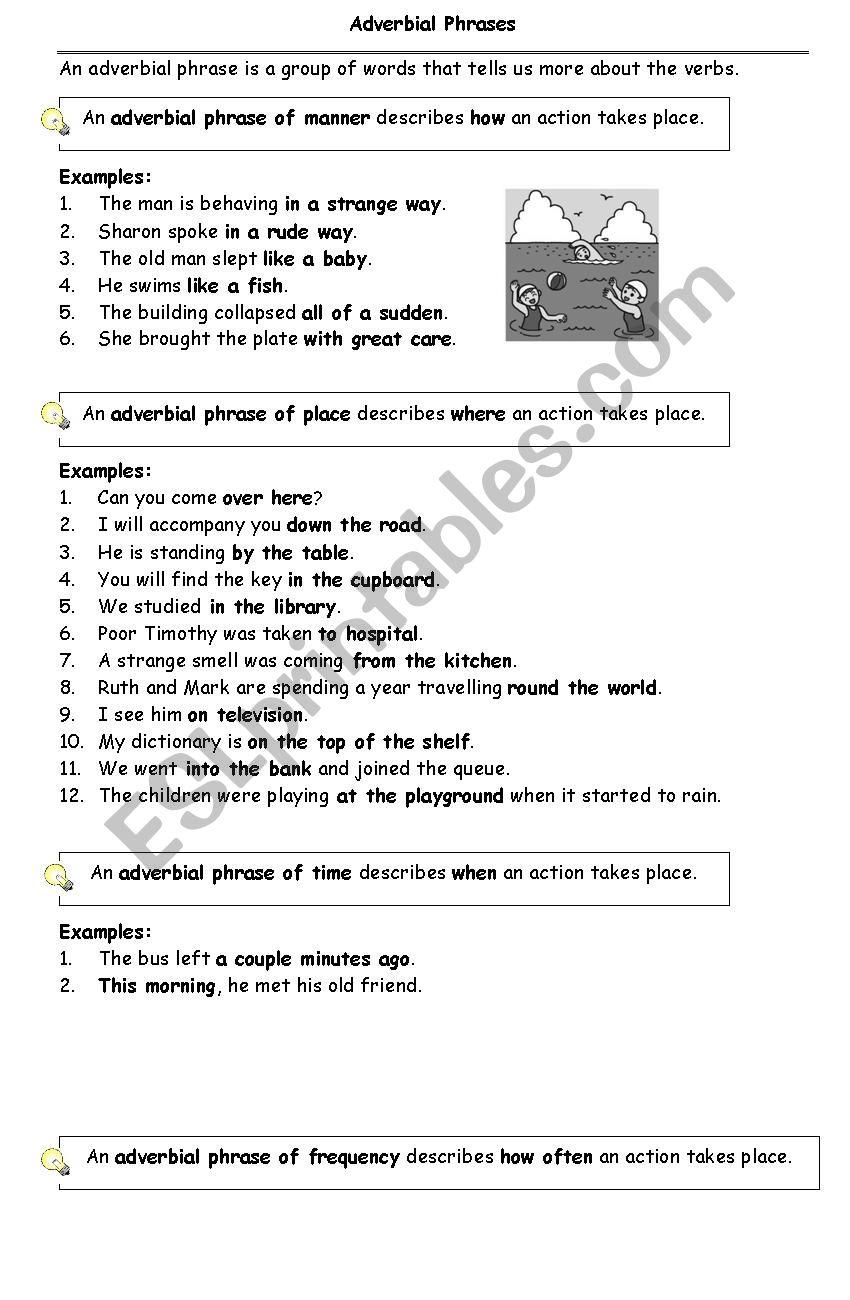 medium resolution of Adverbial Phrases - ESL worksheet by riverz