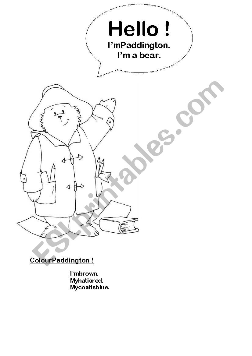 English worksheets: Paddington bear