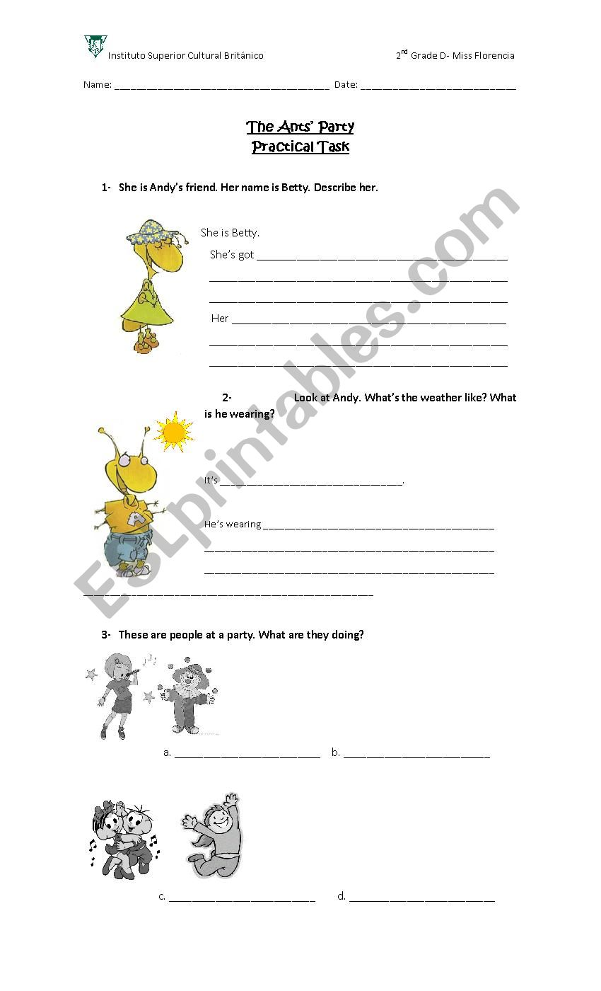 hight resolution of The Ants´ Party - ESL worksheet by fmcisneros