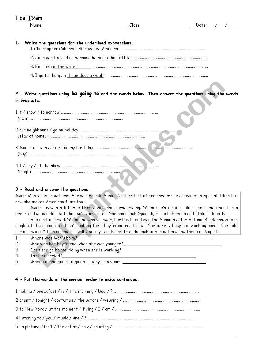 medium resolution of Grammar review / final exam for high school students