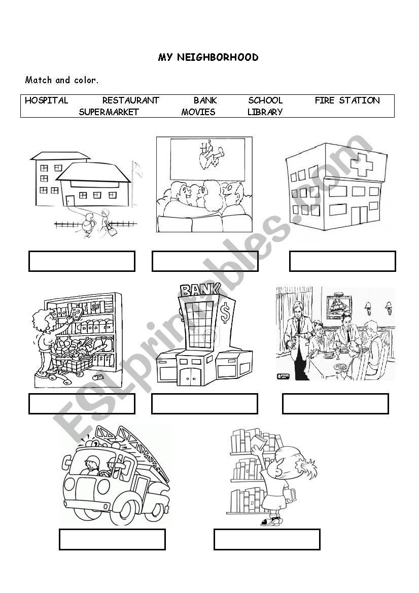 medium resolution of MY NEIGHBORHOOD - ESL worksheet by karluchitas