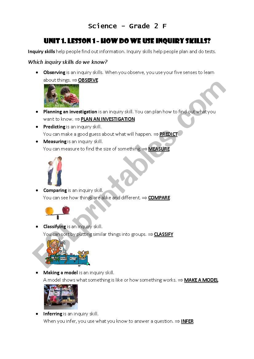 hight resolution of Inquiry skills (plan an investigation