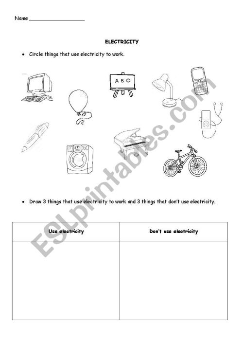 small resolution of Electricity - ESL worksheet by TreeofLight