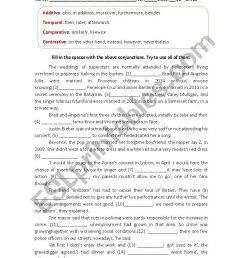 English Worksheet on conjunctions - ESL worksheet by dafodil [ 1169 x 826 Pixel ]