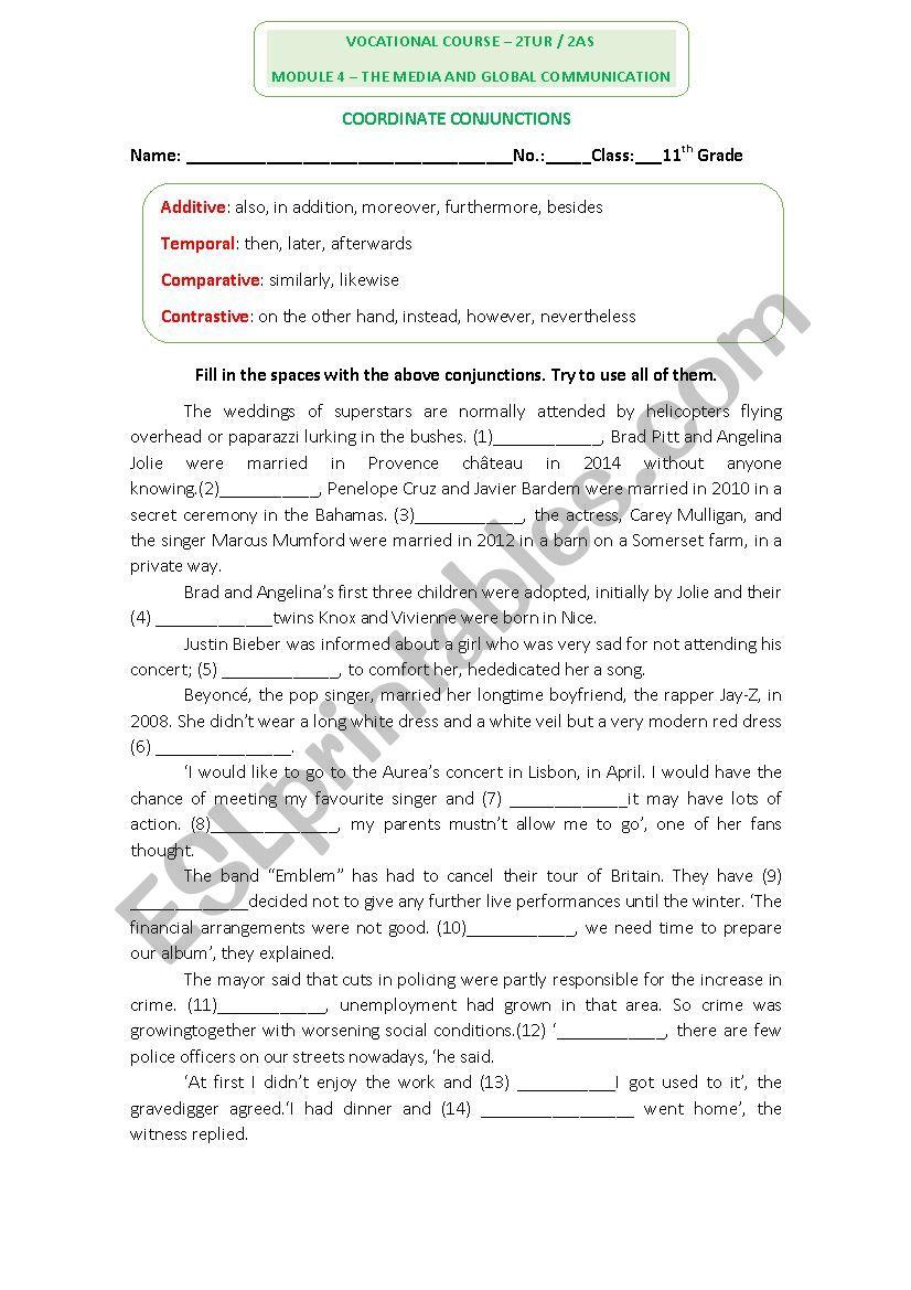 hight resolution of English Worksheet on conjunctions - ESL worksheet by dafodil