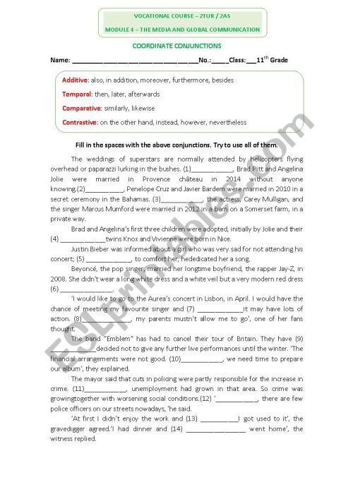 small resolution of English Worksheet on conjunctions - ESL worksheet by dafodil