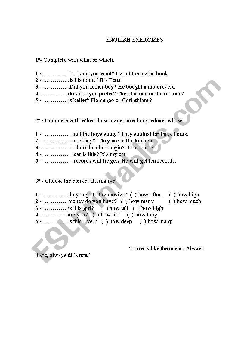 hight resolution of English worksheets: Interrogative pronouns