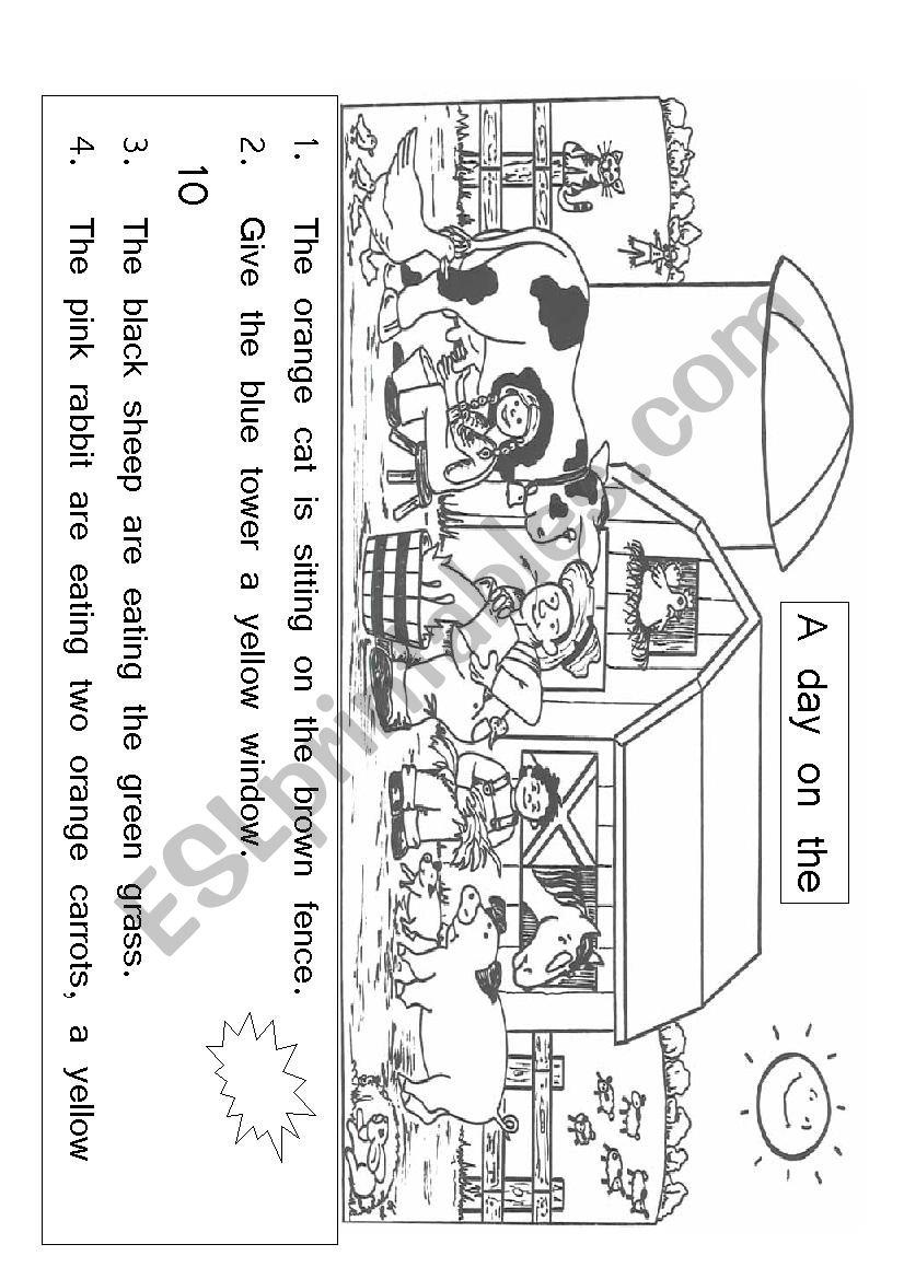 Farm Animals Reading activity for English Second Language