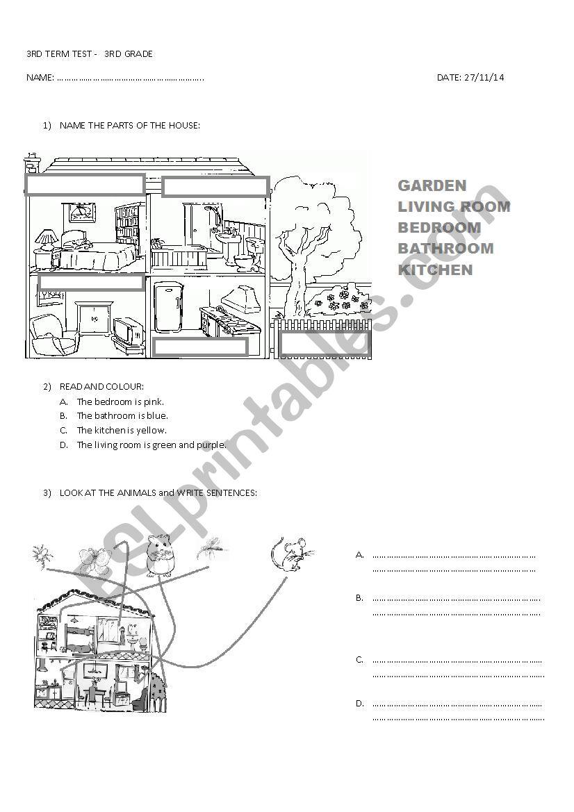 medium resolution of 3RD GRADE TEST - ESL worksheet by miss_alejandra