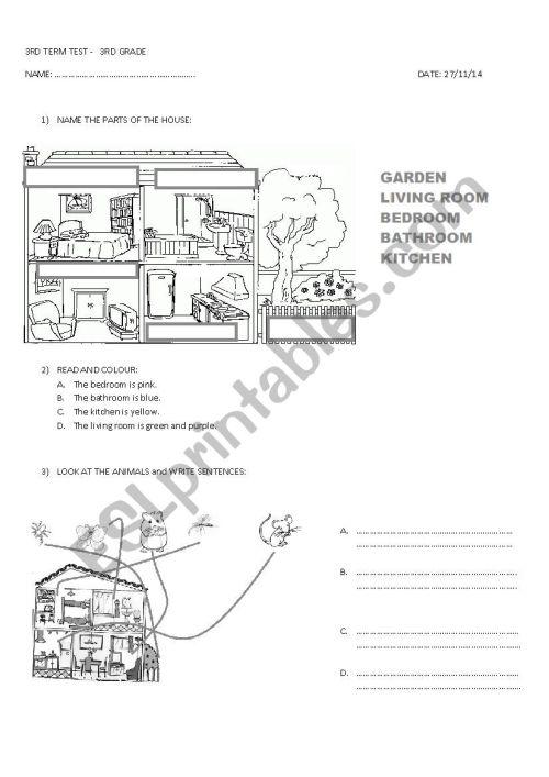 small resolution of 3RD GRADE TEST - ESL worksheet by miss_alejandra