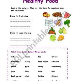 Healthy Food sorting exercise - ESL worksheet by Azza_20 [ 1169 x 821 Pixel ]