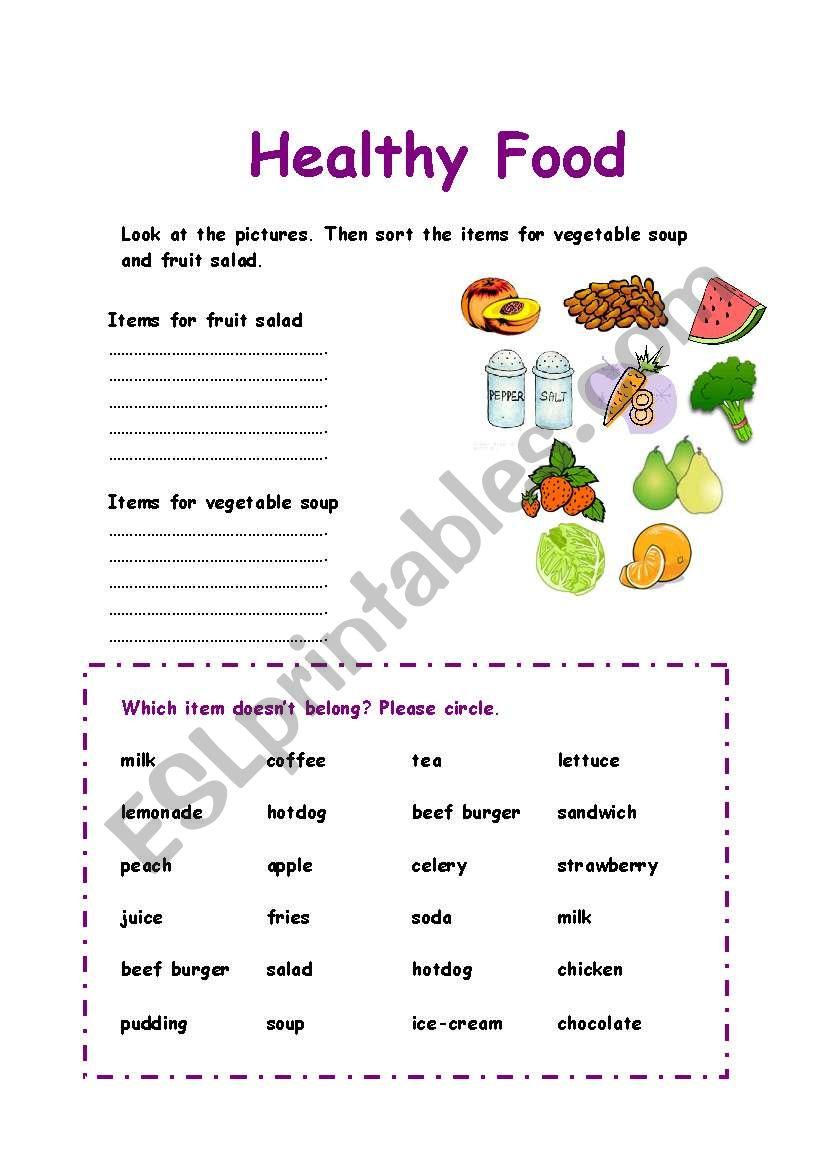 medium resolution of Healthy Food sorting exercise - ESL worksheet by Azza_20