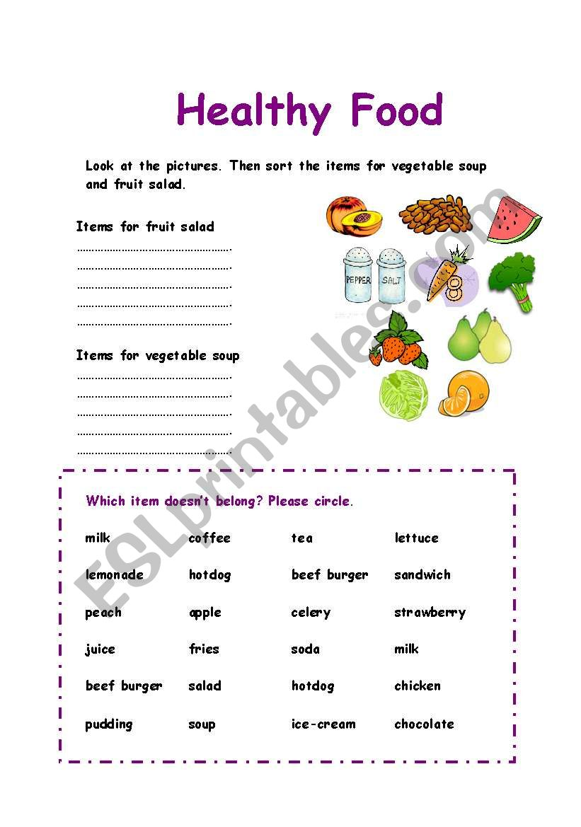 hight resolution of Healthy Food sorting exercise - ESL worksheet by Azza_20