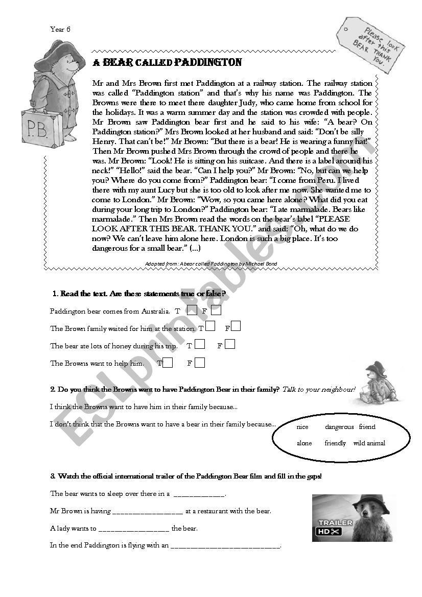 English worksheets: Paddington Bear