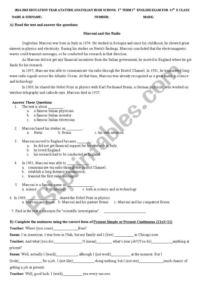 medium resolution of 11th grade test - ESL worksheet by veys